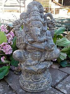 12 cm Elefant Blau Ganesha Skulptur Hindu Gottheit Stein Figur Glück Statue ca