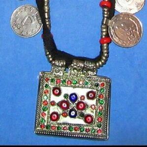 Necklace-Choker-Black-String-Coin-Circle-Afghan-Tribal-Kuchi-Alpaca-Silver-22-034