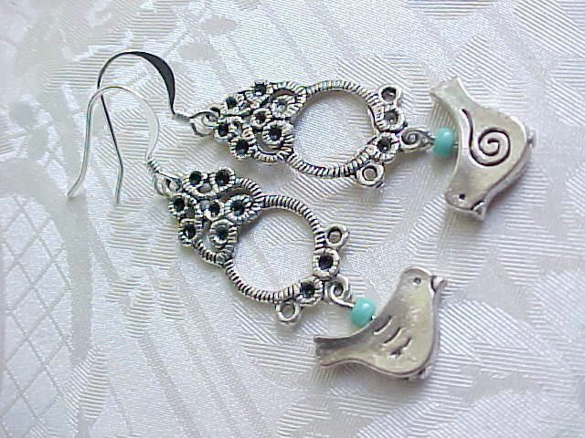 Blue Bird Watcher Earrings Everyday Simple Work Mother Gift Sterling Silver Tops