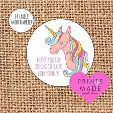 Baby shower thank you for coming stickers favours labels pink unicorn