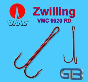 VMC-9920-RD-Zwilling-Angel-Haken-fuer-Shad-Twister-Gummifisch-Koederfisch