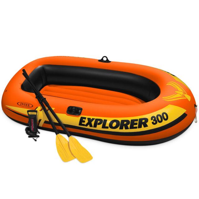 Intex Explorer 300 Compact Inflatable Fishing 3 Person Raft Boat w/ Pump &  Oars