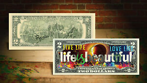 LIFE-IS-BEAUTIFUL-100-Year-Solar-Eclipse-2-U-S-Banknote-SIGNED-Rency-ART-Banksy