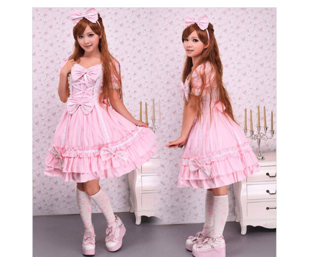 Sweet Pink/Blue long Sleeves one piece winter Lotila fashion Dress&Cape with Bow
