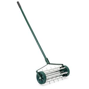 BCP 18in Rolling Lawn Aerator Gardening Tool w/ Tine Spikes - Dark Green