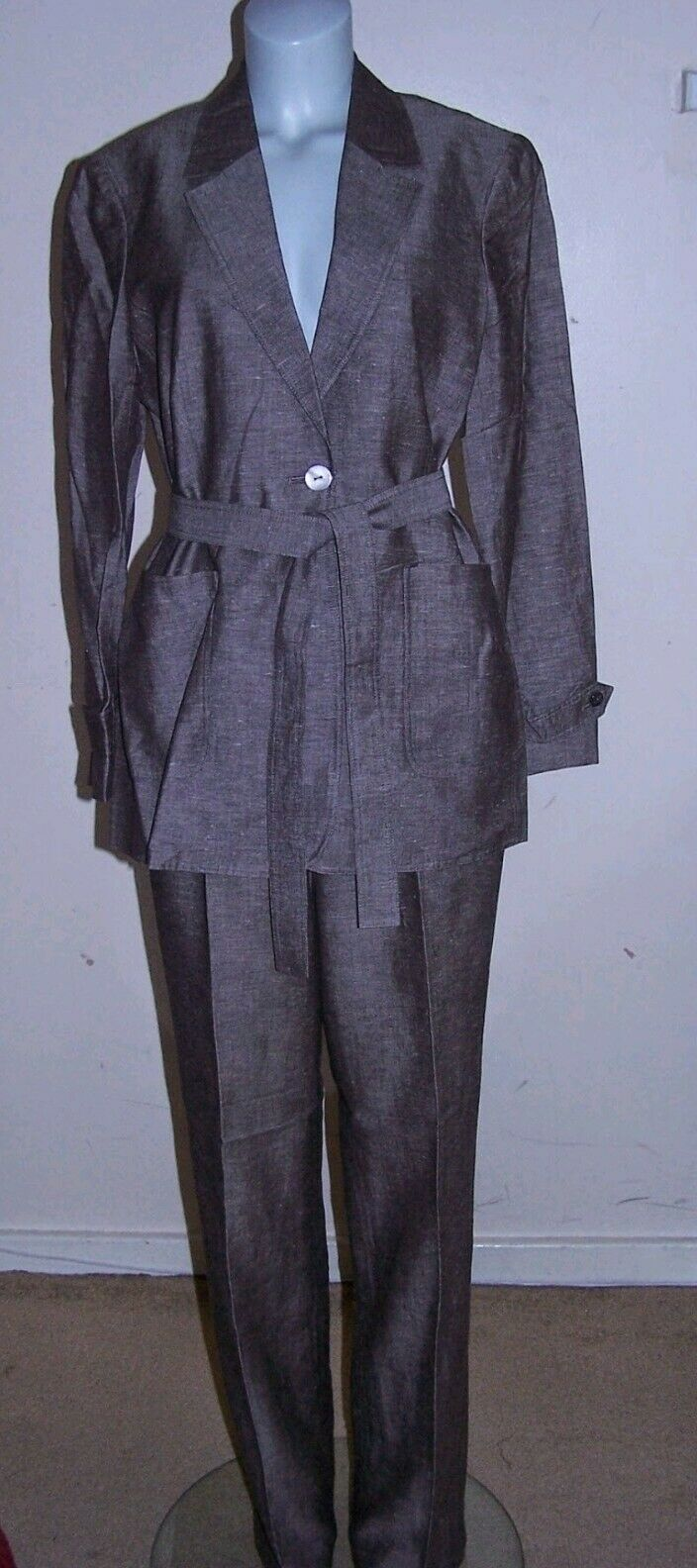 Windsmoor Trouser Brown Suit  Linen Blend, Size  10  Leg 32