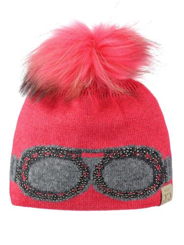 Raccoon Fur Pom Knit CC Beanie C.C Kids/' Children/'s Shiny Rhinestone Goggles