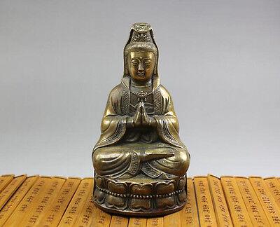 Tibet Buddhist bronze Goddess of Mercy kwan-Yin Buddha Statue