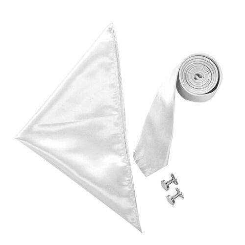 "Cufflinks /& Pocket Square Set Wedding School Prom Boy/'s Satin 2/"" Slim Tie"