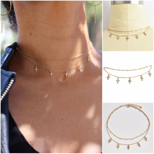 Multilayer Gold Plated Crystal Rhinestone Cross Tassel Beads Choker Necklace New