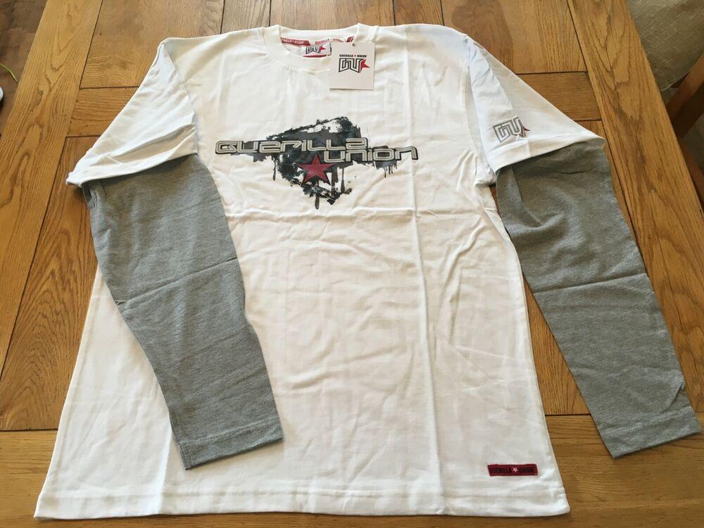 Hommes Bnwt Blanc/gris Guérilla Union Front Logo Imprimé Double Slv. T Shirt, Grande