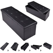 "45""x15""x15"" Large Folding Storage Faux Leather Ottoman Pouffe Box Stool Black"