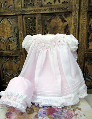 NWT Will/'beth Pink Sheer Overlay Smocked Dress Preemie Bonnet Baby Girls Pearls
