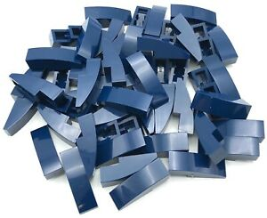 Lego Lot of 50 New Dark Bluish Gray Slopes Curved 2 x 1 No Studs Sloped Parts