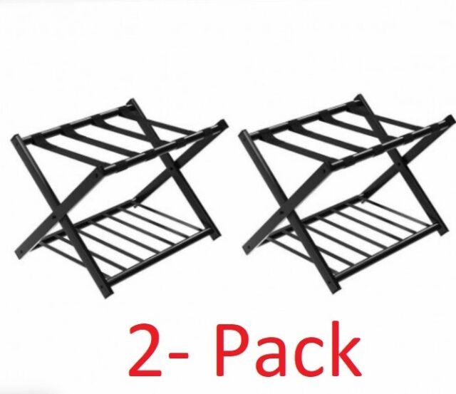 Set Of 2 Folding Metal Luggage Rack Suitcase Shoe Holder Hotel Guestroom W Shelf For Sale Online Ebay