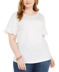 Michael-Kors-Women-039-s-2x-Plus-Size-Shirt-Metallic-Foiled-Flutter-Sleeve-Top-NwT