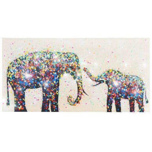 100/% handgemaltes Wandbild 3D-Bild XL Ölgemälde Elefanten Perlen 120x60cm