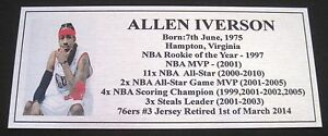 Basketball ALLEN IVERSON Pic Silver plaque free post**
