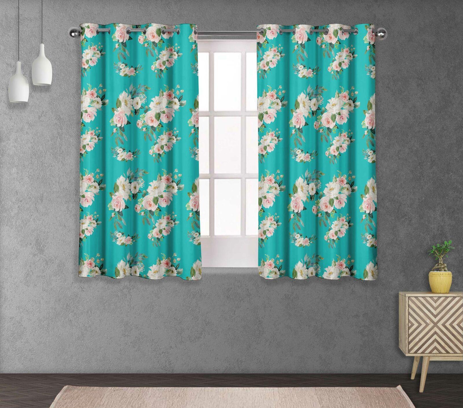 S4sassy Leaves & Ranunculus Living Room Eyelet Curtain Drapers -FL-706C