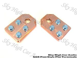 Pair of COPPER Sky High Car Audio SAE Post Any GA 4 Spot Flat BATTERY TERMINALS