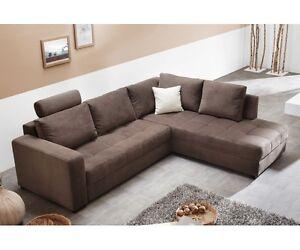 aura couchgarnitur wohnlandschaft sofa wohnzimmercouch braun inkl ...