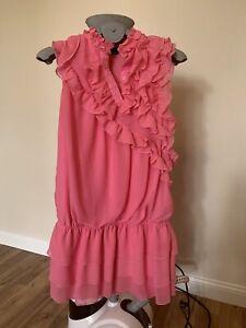 Yumi-Kleid-pink-rosa-S-Partykleid-Abikleid-Abendkleid-Neuwertig-Volant-Minikleid