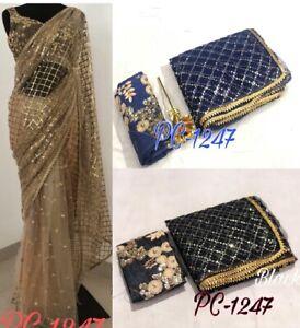 Saree-Mono-Net-Sari-Designer-Indian-Wear-Pakistani-Pure-Wedding-Women-S-Fancy
