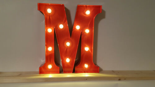 ROT 31x14-30x5cm=12 INCH MARQUEE LETTER LED ALPHABET METALL BUCHSTABE M