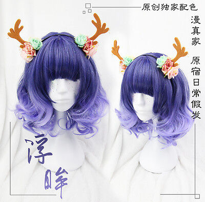 Wig Cosplay Short Curly Hair Sweet Dolly Lolita Harajuku Blue Violet Gradient