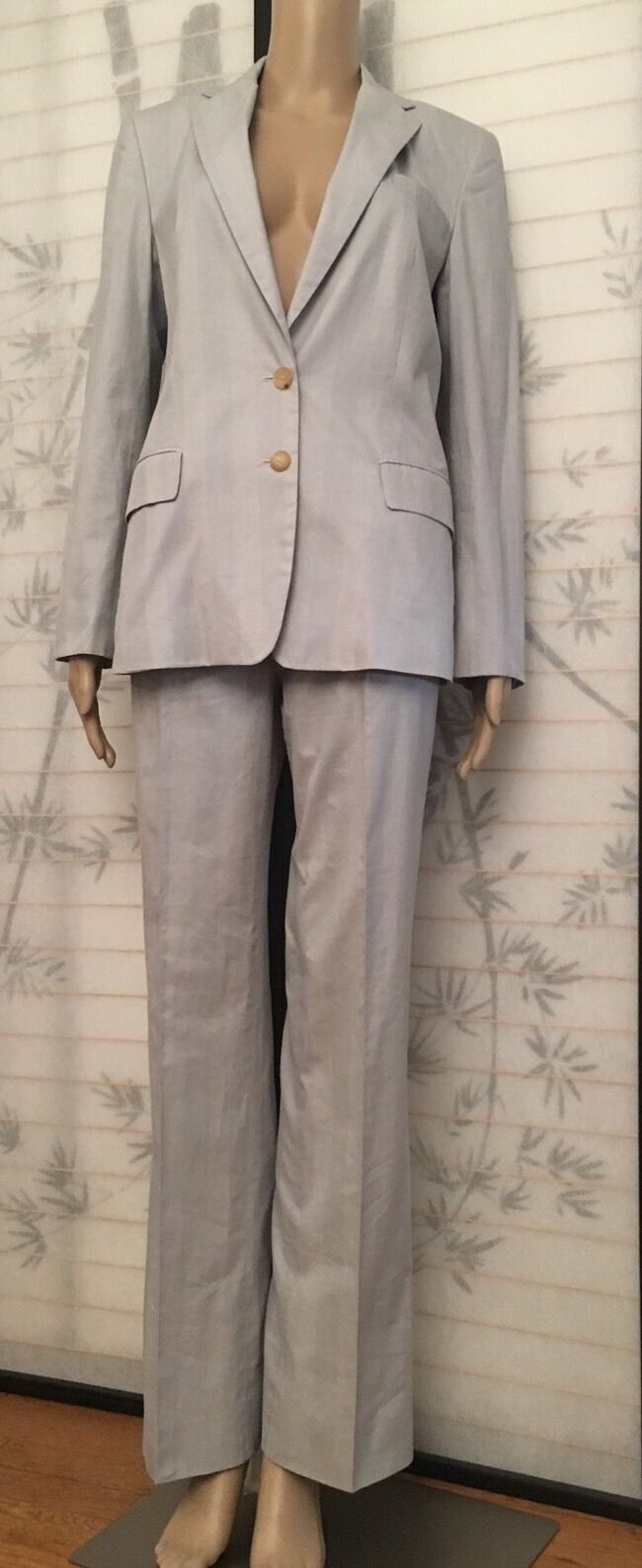 Nicole Farhi Cotton White   bluee Stripe Pants Suite Preppy Look SZ Us 6
