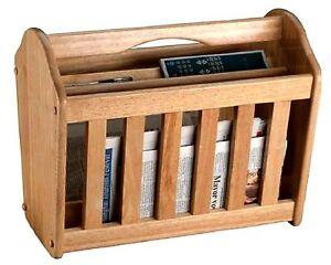 Magazine Rack Newspaper Holder Wood Wooden Shelf Unit Mail Box Home Furniture
