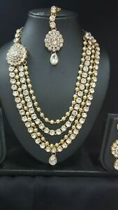 Designer-Gold-Bronze-Indian-Bollywood-Necklace-Earrings-Tikka-Jewellery-Set-l2