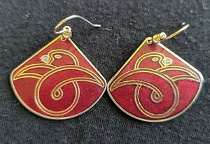 Red Enamel Bird Earrings Gold Tone Sheppard's Hook