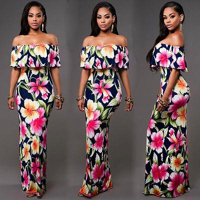 USA Women Summer Dress Boho Maxi Long Evening Party Dress Beach Dress Sundress