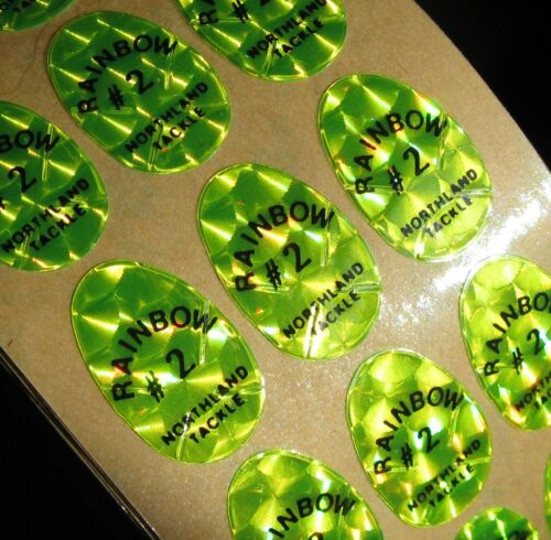 #2 Holographic Northland Tackle Replacement Chartreuse Decals-Lot of 192 A4
