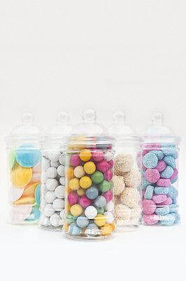 x5 500ml Empty Plastic Sweet Jars Candy Buffet Wedding Storage