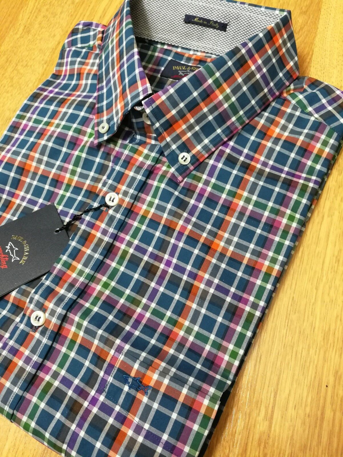 Paul & Shark Regular Fit Plaid Sport Shirt multi NWT US  44 XL