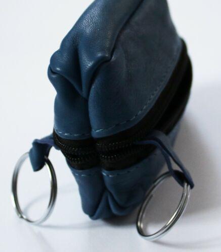 Chiave in Pelle Borsa Astuccio Chiave mäppchen chiave con 2 anelli in blu