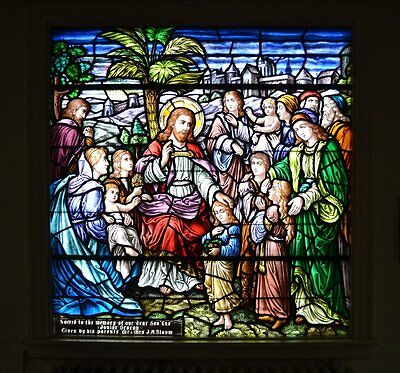 + 100 year old Stained Glass Window by: J. Morgan & Sons (Christ w/the Children)