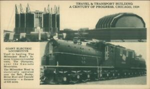 1933-34-Chicago-World-039-s-Fair-Giant-Electric-Train-Locomotive-Postcard-CMST-P-amp-P