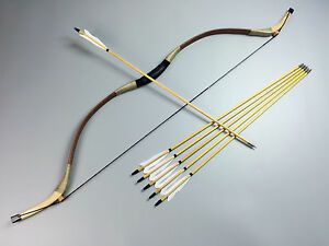 Details about New 55lbs Mongolian Archery Horse Bow Adult Recurve Bow  Hunting Longbow Pig Skin