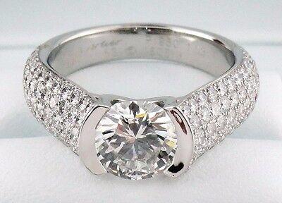 Cartier Plat 1.53ct H VS2 C de Cartier Round Diamond Solitaire Engagement Ring
