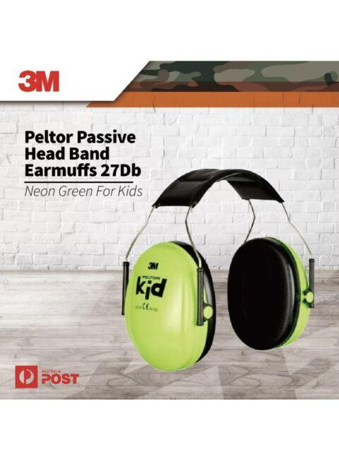 3M Peltor Neon Green Kids Passive Head Band Premium Protective Earmuffs 27Db