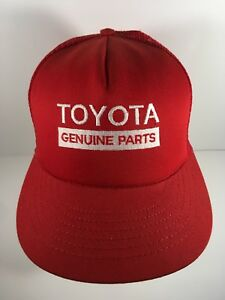 ff684627f87 Toyota Genuine Parts Vintage Mesh Trucker Hat Cap Red Snapback USA ...