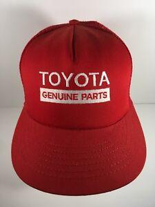 3ee46c74003 Toyota Genuine Parts Vintage Mesh Trucker Hat Cap Red Snapback USA ...