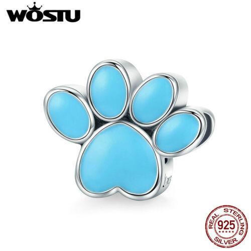 Wostu 925 Sterling Silver Cute Dog Paw Charms Avec Bleu Émail Pour Bracelet