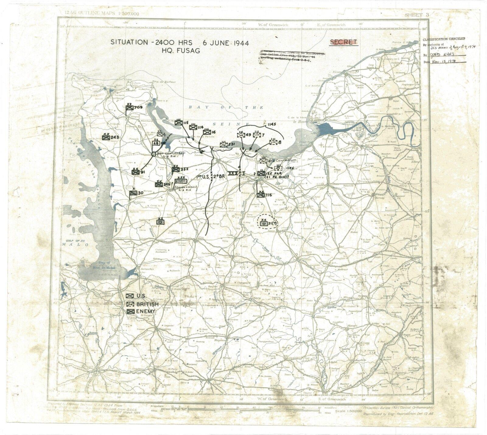 "30"" X 26"" WW2 D-DAY  MAP OF LANDINGS  PRINT"