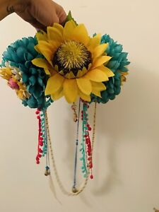 Handmade-Festival-Headdress-Sunflower-Pom-Pom-Colourful-Rainbow-Flower-Crown