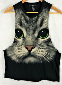 Womens-XXI-Cat-Face-with-Green-Eyes-Size-S-Black-Tank-Wide-Sleeve-Opening