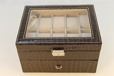 20 Slot Pillow Brown Leather Watch Case Box Jewelry Cufflinks Ring Organizer